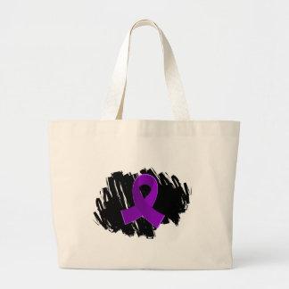 Cinta púrpura de la sarcoidosis con garabato bolsa tela grande
