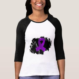 Cinta púrpura del cáncer pancreático con garabato camisas