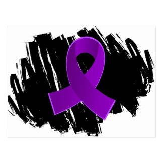 Cinta púrpura del cáncer pancreático con garabato tarjeta postal