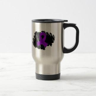 Cinta púrpura del cáncer pancreático con garabato taza de viaje