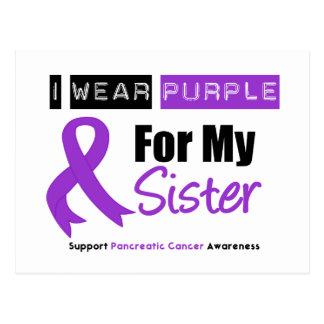 Cinta púrpura del cáncer pancreático para mi herma tarjetas postales