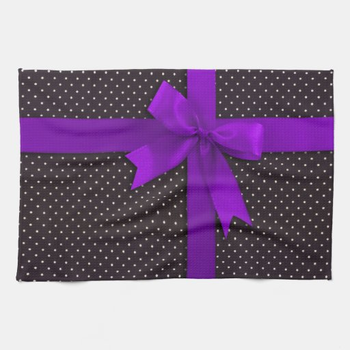 Cinta púrpura del lunar toalla de mano