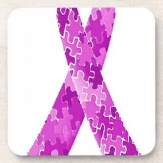 Cinta púrpura del modelo del rompecabezas del posavaso