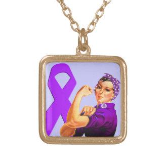 Cinta púrpura Rosie de la conciencia el remachador Collar Dorado