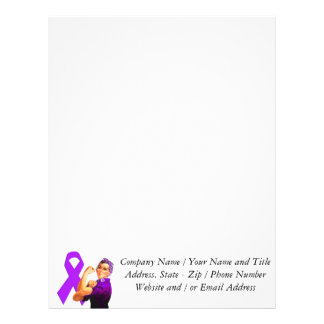 Cinta púrpura Rosie de la conciencia el remachador Membretes Personalizados