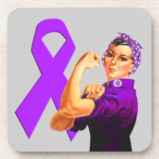 Cinta púrpura Rosie de la conciencia el remachador Posavasos De Bebidas