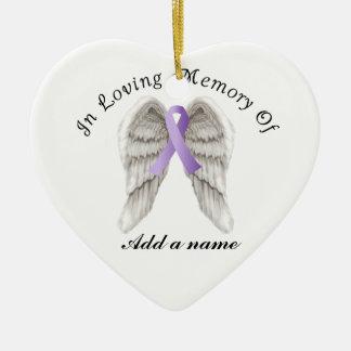 Cinta púrpura todo el cáncer en el ornamento adorno navideño de cerámica en forma de corazón