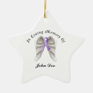 Cinta púrpura todo el cáncer en memoria adorno navideño de cerámica en forma de estrella