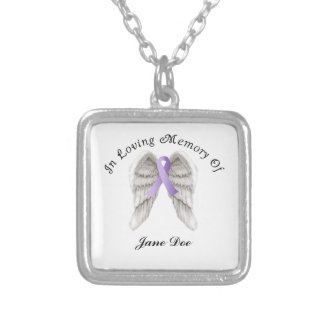 Cinta púrpura todo el cáncer en memoria colgante cuadrado