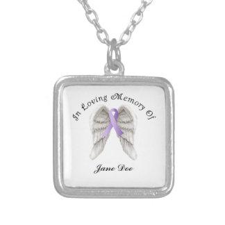 Cinta púrpura todo el cáncer en memoria collar plateado