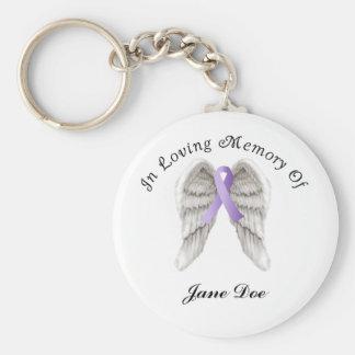 Cinta púrpura todo el cáncer en memoria llavero redondo tipo pin