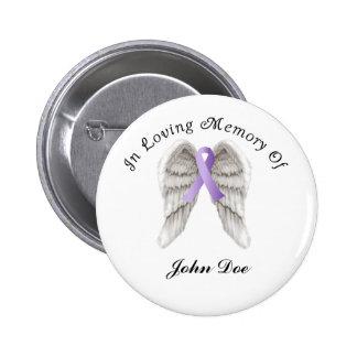 Cinta púrpura todo el cáncer en memoria pin redondo de 2 pulgadas