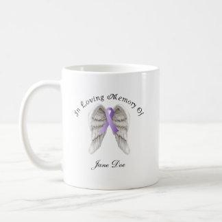 Cinta púrpura todo el cáncer en memoria taza de café