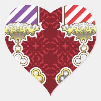 Cinta rayada de la medalla del vector del arte de pegatina en forma de corazón