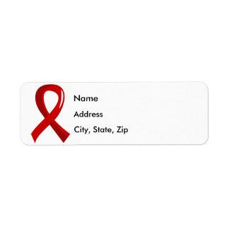 Cinta roja 3 del SIDA Etiquetas De Remite