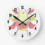 Cinta roja abstract.png del polluelo amarillo reloj de pared