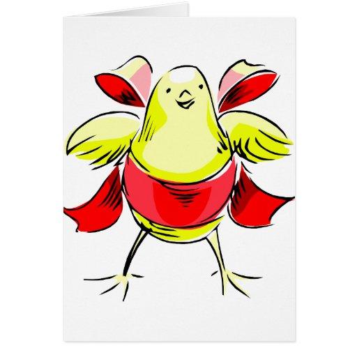 Cinta roja abstract.png del polluelo amarillo tarjeton
