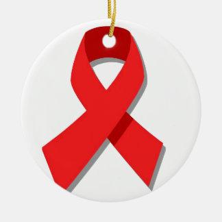 Cinta roja adorno navideño redondo de cerámica