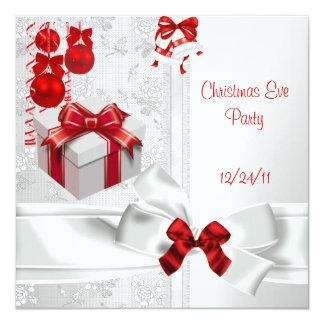 Cinta roja blanca del cordón elegante del fiesta invitación 13,3 cm x 13,3cm