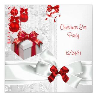 """Cinta roja blanca del cordón elegante del fiesta invitación 5.25"""" x 5.25"""""""