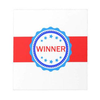 Cinta roja, blanca y azul del ganador blocs de papel
