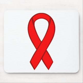 Cinta roja de la conciencia del VIH y del SIDA Tapete De Raton