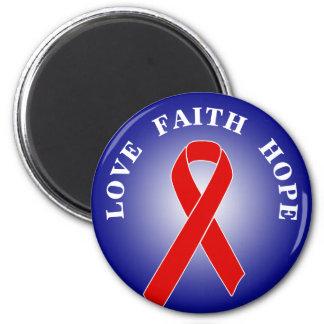 Cinta roja de la conciencia + su mensaje imán redondo 5 cm