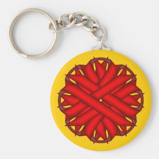 Cinta roja de la flor llavero redondo tipo pin