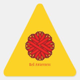 Cinta roja de la flor pegatina triangular