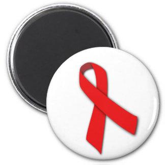 Cinta roja de la solidaridad de la gente que vive imán redondo 5 cm