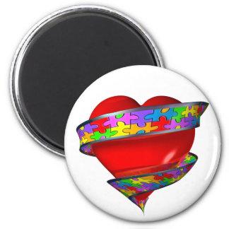 Cinta roja del corazón imán redondo 5 cm