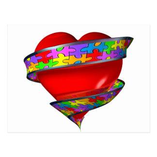 Cinta roja del corazón tarjeta postal