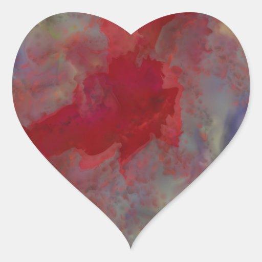 Cinta roja del impresionismo del extracto del sino pegatinas corazon