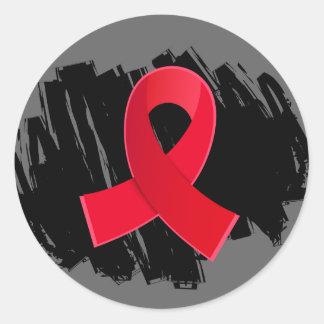 Cinta roja del movimiento con garabato pegatina redonda