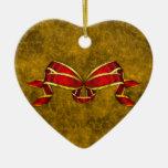 Cinta roja del navidad en el oro adornos de navidad