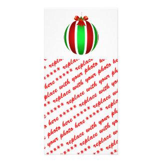Cinta roja en el ornamento rayado tarjeta fotográfica personalizada