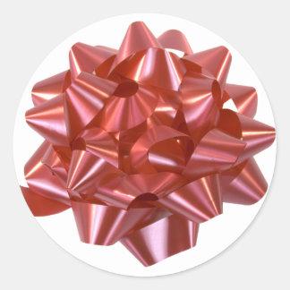Cinta roja grande del arco del regalo de Navidad Etiquetas Redondas