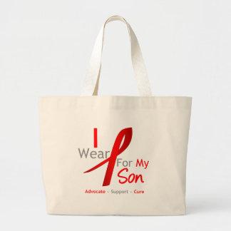 Cinta roja llevo el rojo para mi hijo bolsa de tela grande