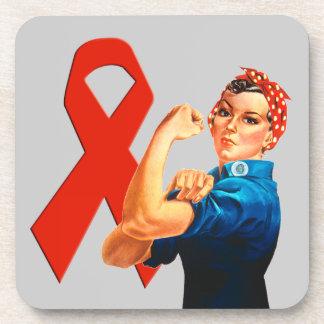 Cinta roja Rosie de la conciencia el remachador Posavasos De Bebida