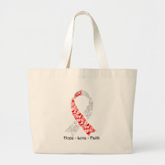 Cinta roja y blanca de la esperanza de la bolsa tela grande