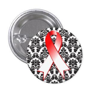 Cinta roja y blanca del damasco oral del cáncer pins
