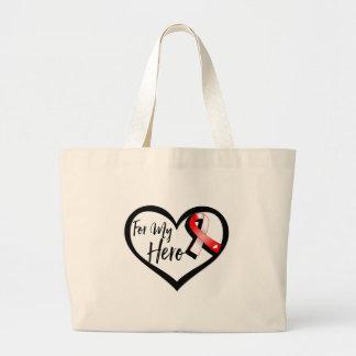 Cinta roja y blanca para mi héroe bolsa tela grande