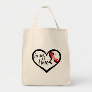 Cinta roja y blanca para mi héroe bolsa tela para la compra