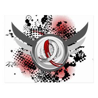 Cinta roja y blanca y cáncer oral de las alas postal