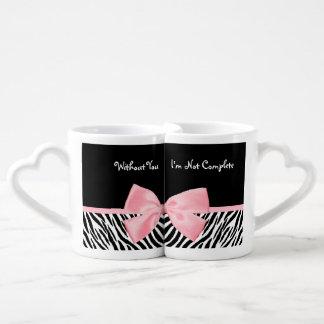 Cinta rosa clara suavemente femenina elegante del taza para parejas