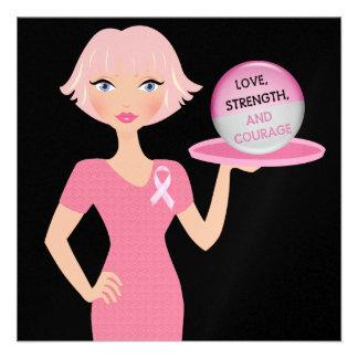 Cinta rosada - amor fuerza y valor de la porción invitación