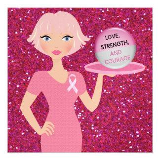 Cinta rosada - amor fuerza y valor de la porción comunicado personalizado