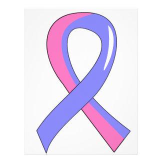 """Cinta rosada azul masculina 3 del cáncer de pecho folleto 8.5"""" x 11"""""""