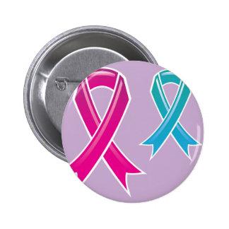 Cinta rosada Blue Ribbon Pin Redondo De 2 Pulgadas
