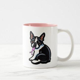 Cinta rosada Boston Terrier Taza Dos Tonos